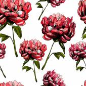Pattern with beautiful flowers peonies — Stok Vektör