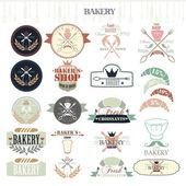 Etiquetas e emblemas vintage retrô padaria. — Vetor de Stock