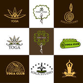 Set of logos of yoga and meditation — Stock Vector