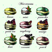 Illustrations with colorful macarons, — Stok Vektör