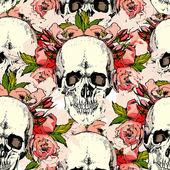 Pattern with skull. hand draw. — Wektor stockowy