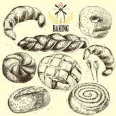 Bakery vector set. Hand drawn. — Stok Vektör
