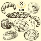 Bakery vector set. Hand drawn. — Stockvektor