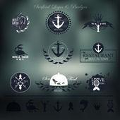 Frutos do mar etiquetas, emblemas e elementos para seu projeto. — Vetor de Stock