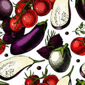 Pattern with Organic Vegetables. Illustrations. — Wektor stockowy