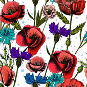 Seamless pattern with bright colorful flowers cornflowers and poppies, on a light background — Stock Vector