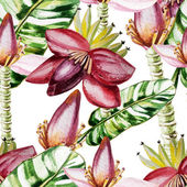 Water color pattern with flowers and banana leaves — Vector de stock