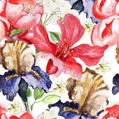Seamless pattern with watercolor flowers. Iris.  Blooming pomegranate. — Wektor stockowy