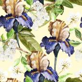 Seamless pattern with watercolor flowers. Iris. — Wektor stockowy