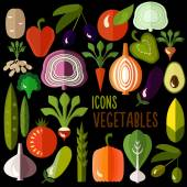 Vegetables icons: vector set of flat colorful food signs — Stock Vector