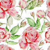 Seamless pattern with watercolor flowers. Rose. — Stock Vector