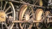 Wheels of steam locomotive — Stock Photo