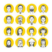 People Avatar Face icons — Stock vektor