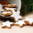 Cinnamon stars, traditional Christmas cookies in a ceramic  bowl — Stock Photo #60700911
