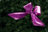 Pink ribbon in fir branches with small fairy lights for christma — Stok fotoğraf