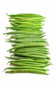 Green beans, vertical format, isolated on white — Stock Photo