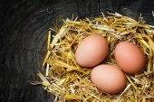 eggs in a nest of straw on  dark wooden background, copy space — Stock Photo