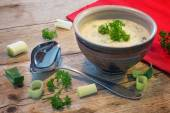 Creme sauce in a  bowl with  leek and herbs on  rustic wood — Stock Photo
