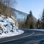 Curvy mountain road, winter landscape — Stock Photo #65043853