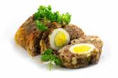 Meatloaf with boiled eggs inside for Easter, isolated — Stock Photo