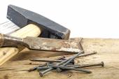 Old woodworker tools on rustic wood  white background — Stock Photo