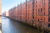 Facades at the canal in the historic Speicherstadt in Hamburg Ge — Stock Photo