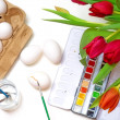 Creative concept, Easter egg coloring, view fom above — Stock Photo #65824447