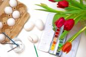 Creative concept, Easter egg coloring, view fom above — Stock Photo