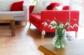 Vase with snowdrops on a table in the living room — Stock Photo
