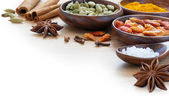 Exotic spices in wodden bowls, corner background blurred to whit — Stock Photo
