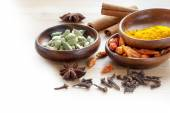 Exotic spices, corner background for indian cooking blurred to w — Stock Photo