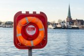 Live buoy at the ferry port — Stock Photo
