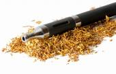 Electronic cigarette in loose tobacco isolated on white — Stock Photo