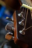 Guitar detail, headstock with tuning pegs — Stock Photo