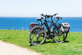 Two bikes parked on the lawn at the wide blue sea — Stok fotoğraf