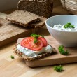 Curd cheese dip with herbs and rustic wholegrain bread with toma — Stock Photo #71268535