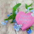 Pink wooden heart shape with text happy mothers day and forgetme — Stock Photo #71695887