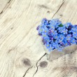 Heart shape with forget-me-not flowers on  rustic wood — Stock Photo #71696373
