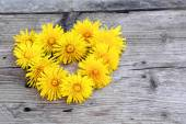 Wreath in heart shape made from dandelions on  weathered wood — Stock Photo