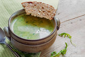Green cream soup from vegetables and herbs with bread in a rusti — Stock Photo