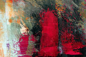 Three figures, abstract original painting on canvas in red and b — Stock Photo