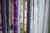 Fabric samples in a curtain shop — Stock Photo