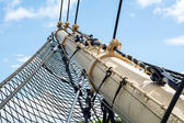 Bowsprit and safety net of a historic Tall Ship — Stock Photo