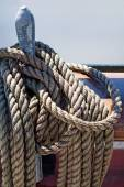 Ropes on an ancient sailing vessel — Стоковое фото