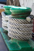 Ropes on an ancient sailing vessel — Stock Photo