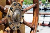 Steering wheel  of wood on a Tall Ship — Stock Photo