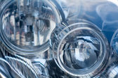 Silver blue technology, abstract background from a blurred close — Stock Photo