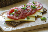 Dark bread with cheese and juicy tomatoes — Stock Photo
