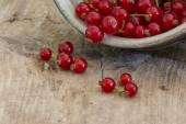 Red currants falling out of a ceramic bowl on rustic wood — Stock Photo