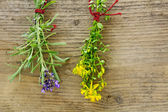 St. John's wort and lavender hanging to dry in front of rustic — Stock Photo